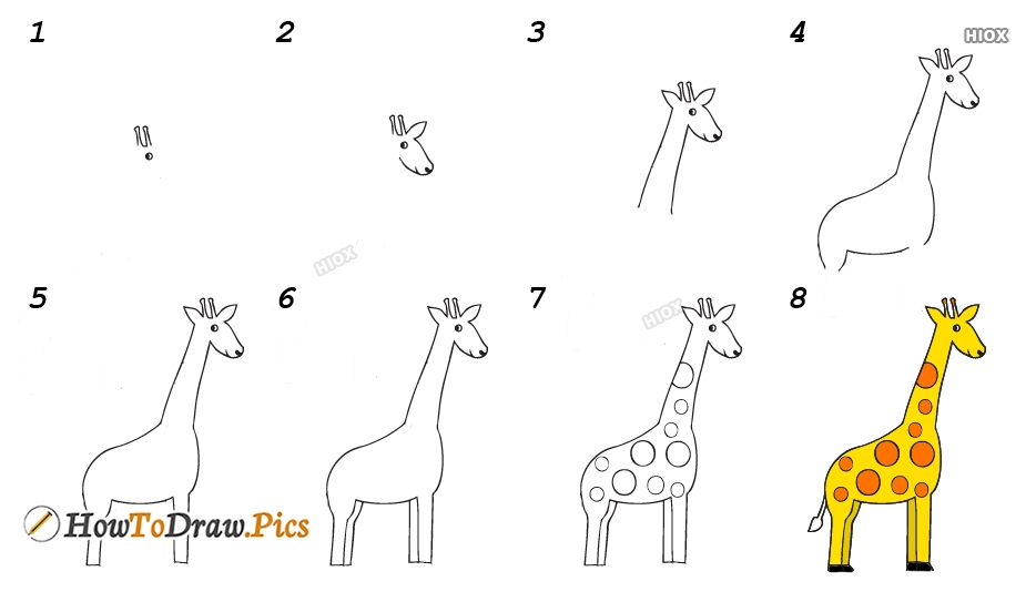 How To Draw Giraffe Print Step By Step