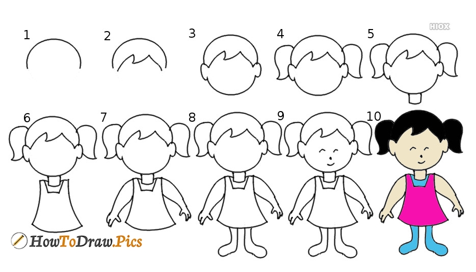 How To Draw A Girl Step By Step Pictures