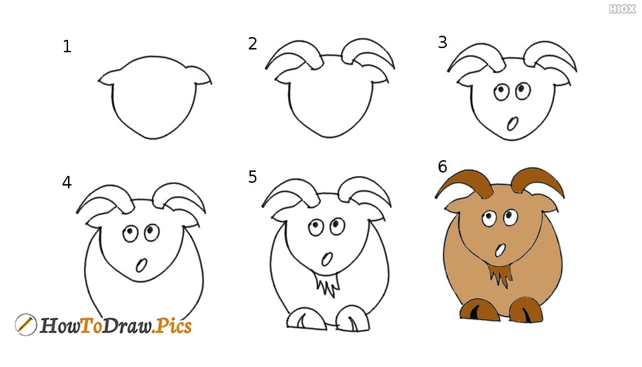 How To Draw Goat Step by Step Pictures