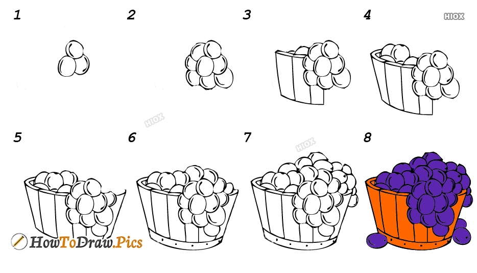 How To Draw Grapes In A Basket
