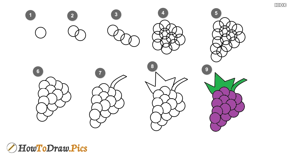 How To Draw Grapes Step By Step Images