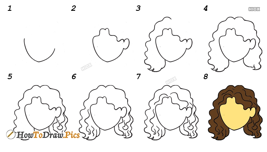 How To Draw Curly Hair Step By Step Images