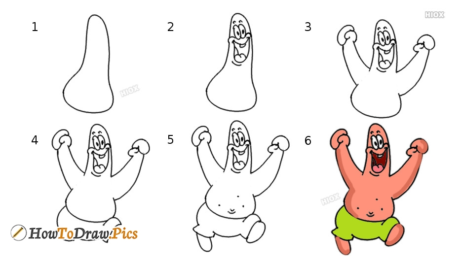 How To Draw Happy Patrick Star Cartoon