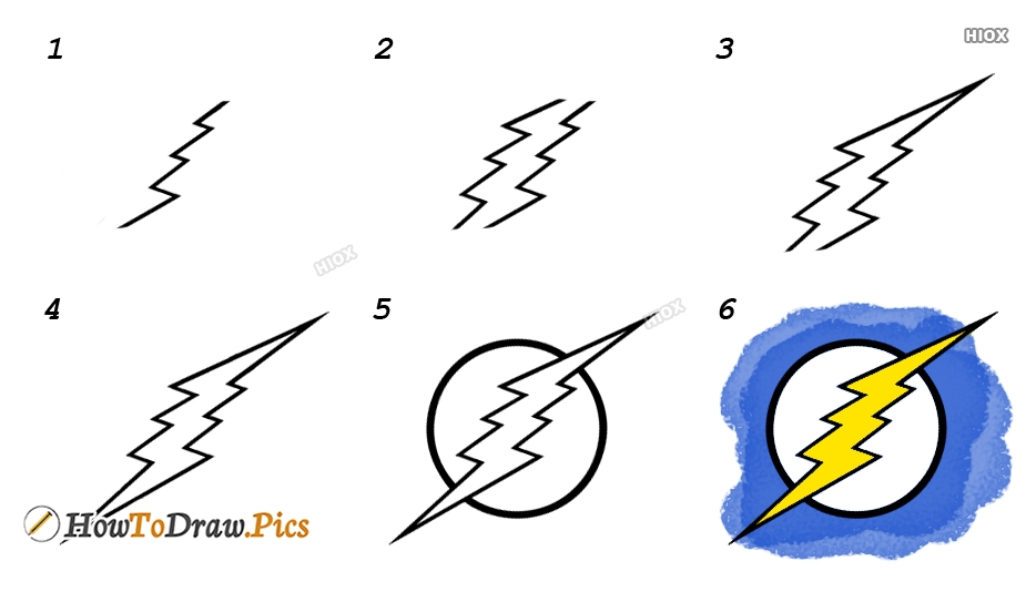 How To Draw Lightning Step By Step Images