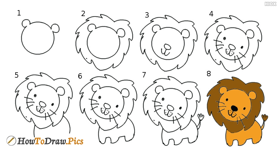 How To Draw Lion Pictures | Lion Step By Step Drawing Lessons
