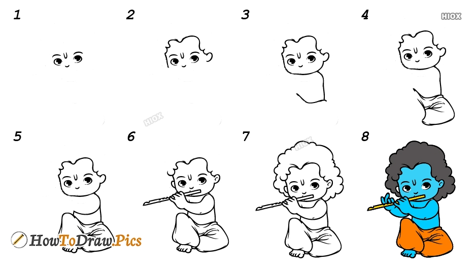 How To Draw Little Krishna