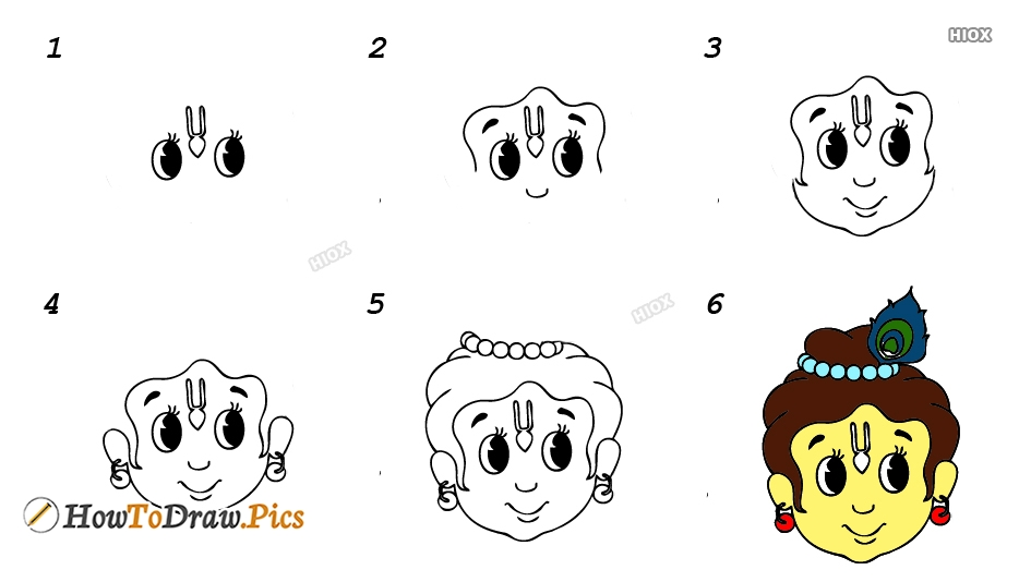 How To Draw Krishna Step By Step Images