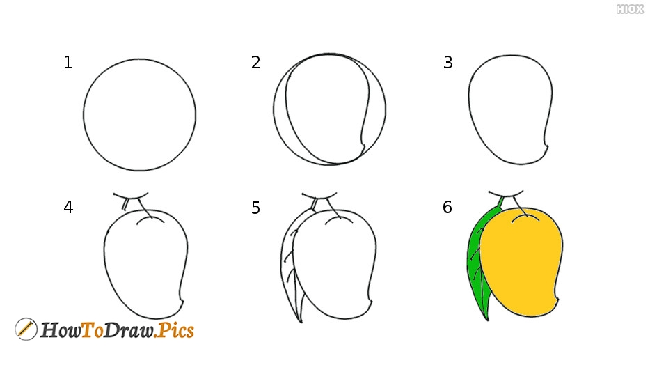 How To Draw Mango Pictures | Mango Step by Step Drawing Lessons