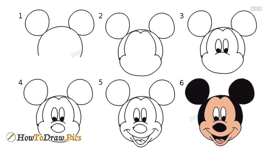 How to draw mickey mouse pictures mickey mouse step by step drawing lessons