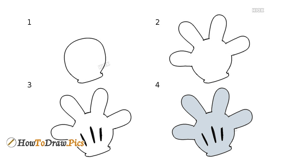 how to draw mickey mouse hands step by step