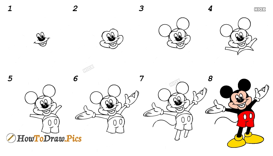 How To Draw Mickey Mouse Full Body