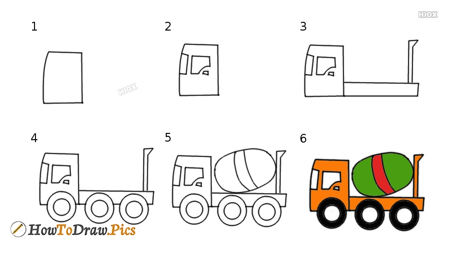 How To Draw A Cement Mixer Truck For Kids