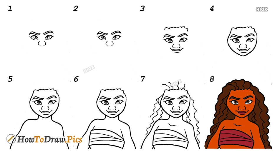 How To Draw Moana Easy Step By Step