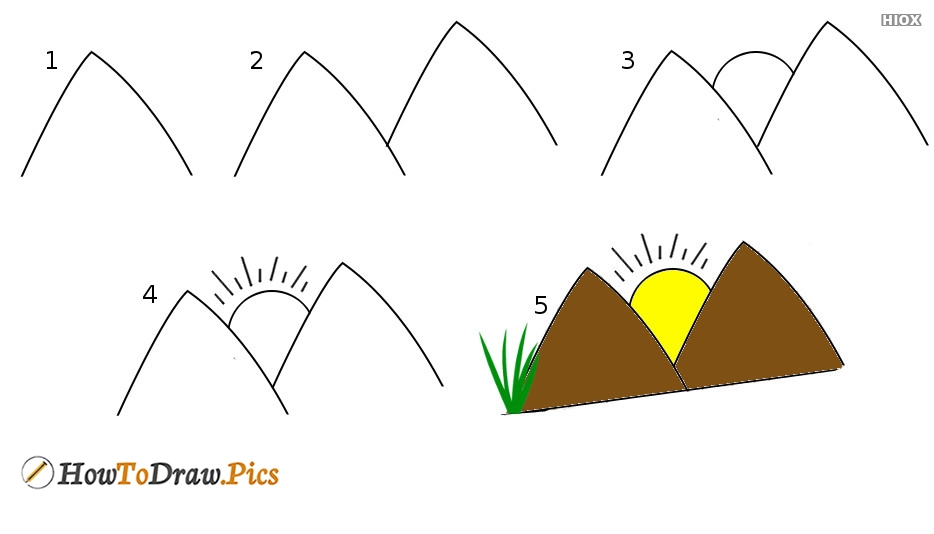 How To Draw Mountain Step by Step Pictures