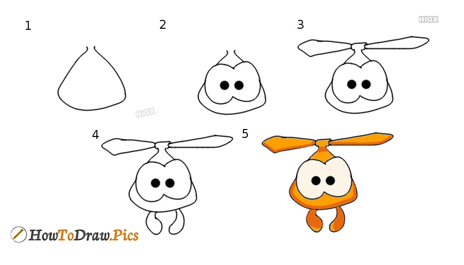 How To Draw Om Nom Roto Step by Step Pictures