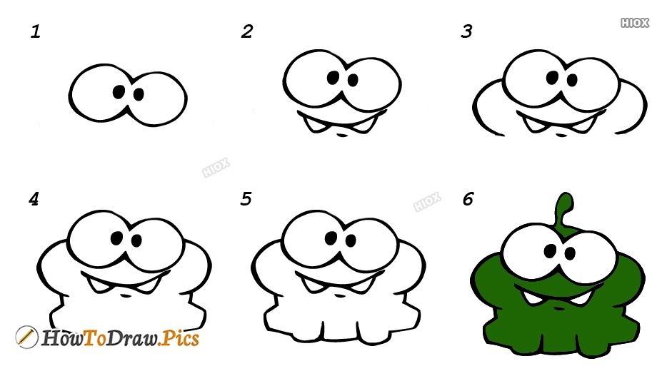 How To Draw Om Nom Step By Step