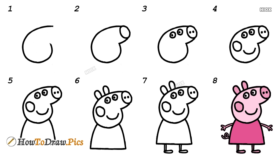 How To Draw Peppa Pig Step By Step Images