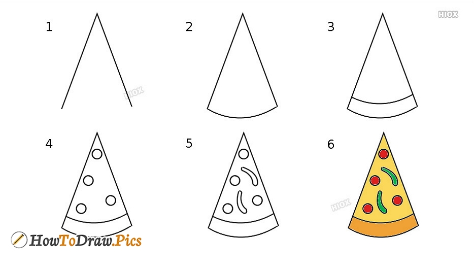 How To Draw Pizza Step by Step Pictures