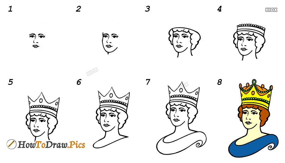 How To Draw A Queen Crown Step By Step  Images
