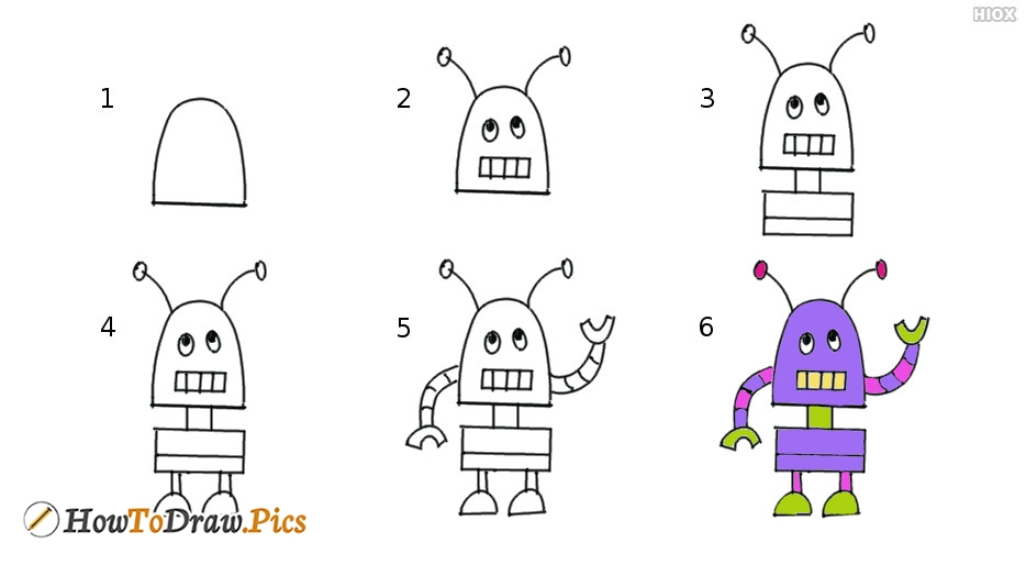 How To Draw Robot Step by Step Pictures