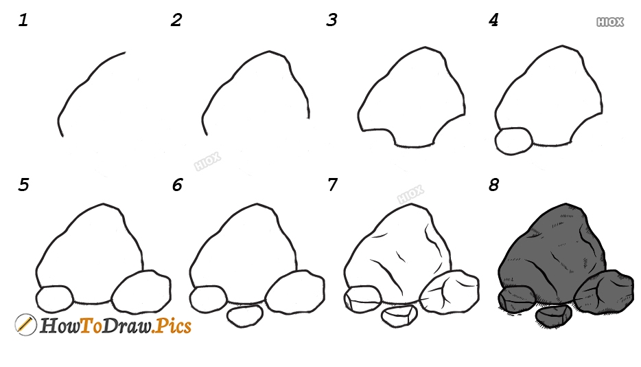 How To Draw Rocks Step By Step Images