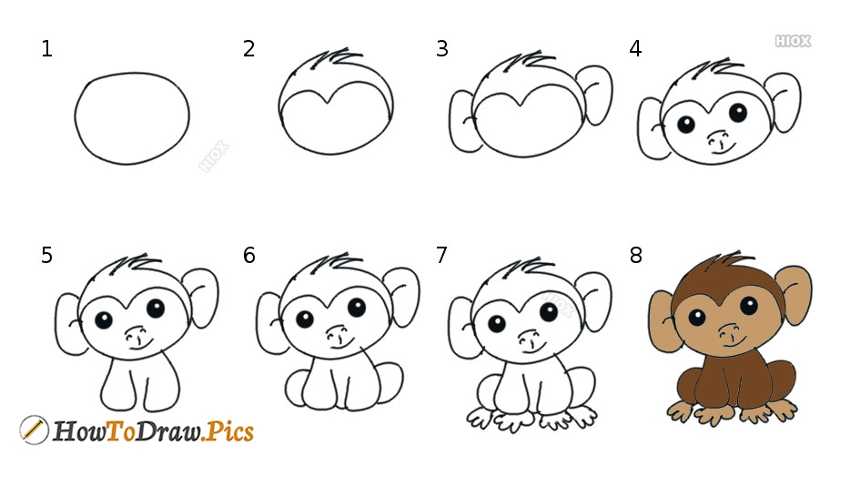 How To Draw A Monkey Step By Step Tutorial Pictures