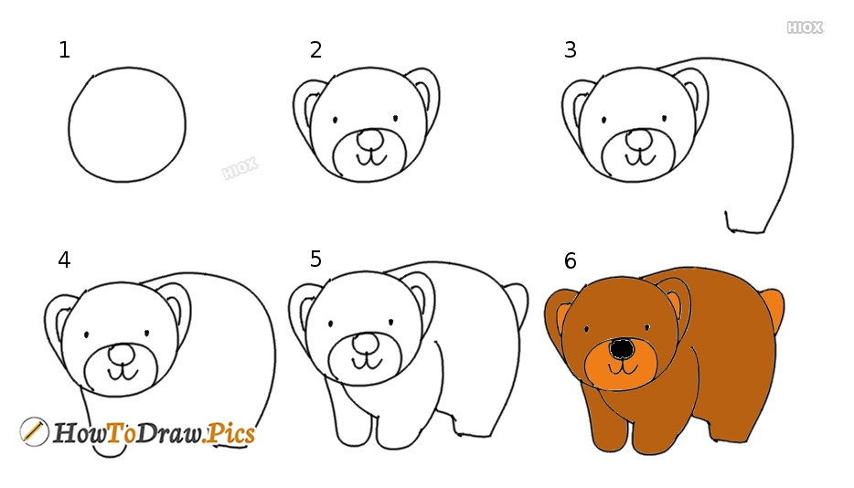 How To Draw Step By Step Bear