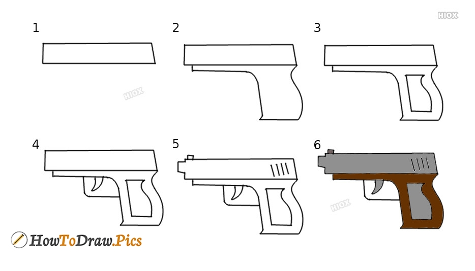 How To Draw A Gun Step By Step Images