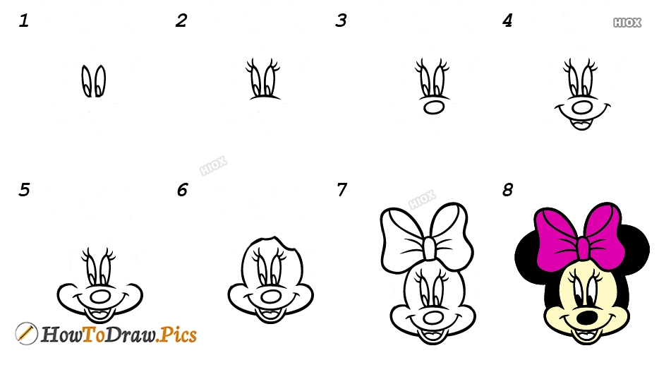 How To Draw Minnie Mouse Step By Step Images