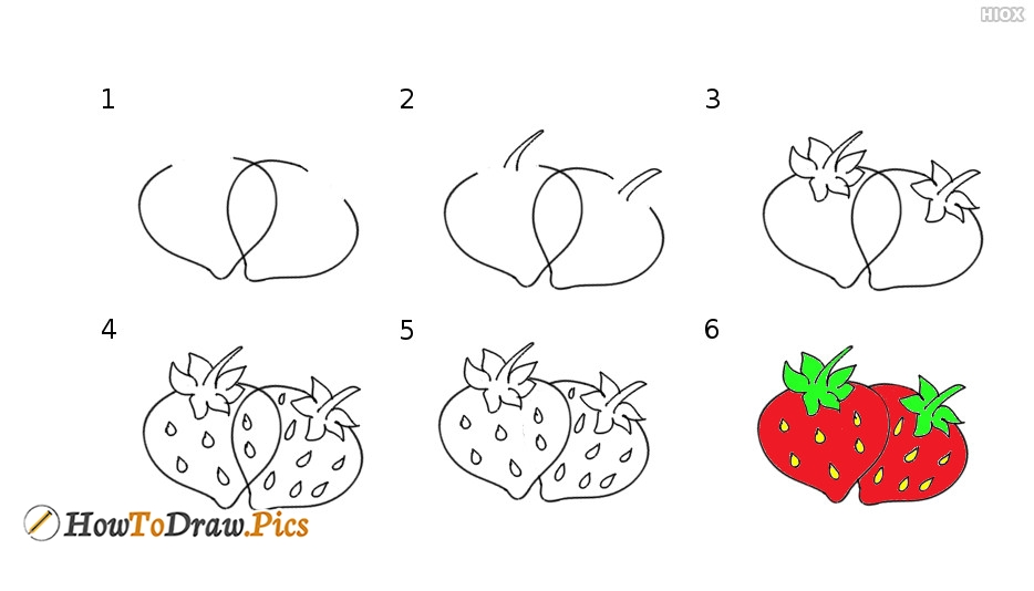 how to draw strawberry howtodraw pics