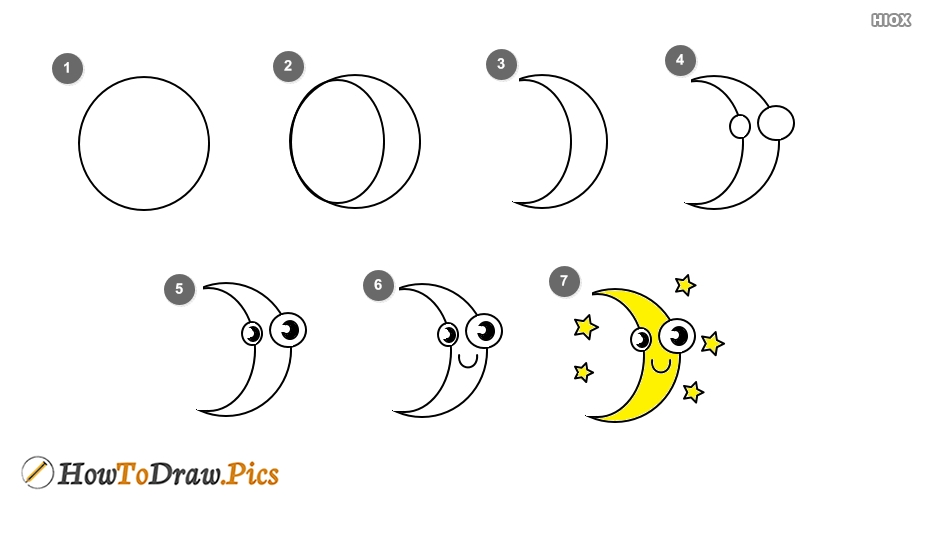 How To Draw Moon Step By Step Images, Pictures