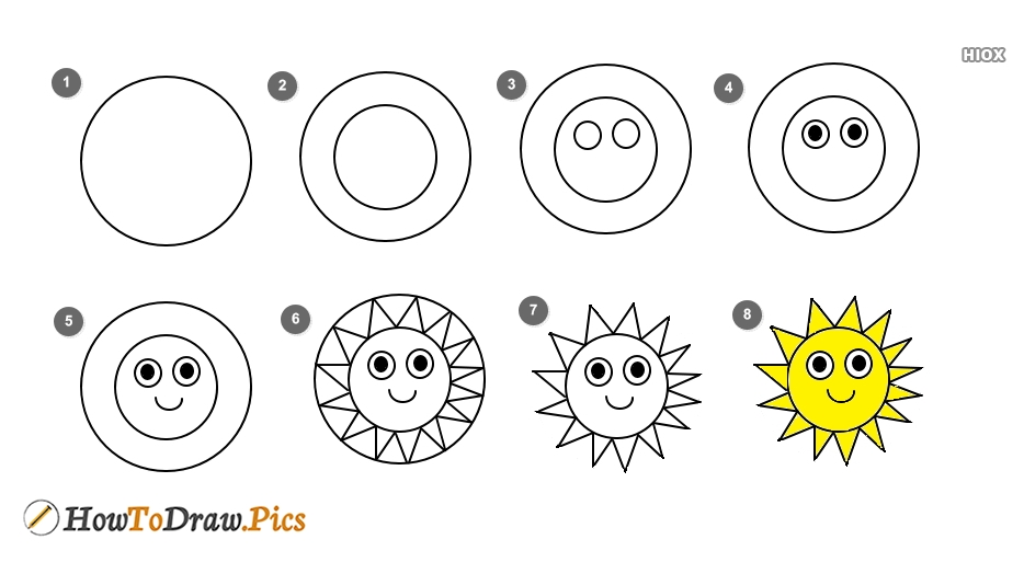 How To Draw The Sun Step By Step?
