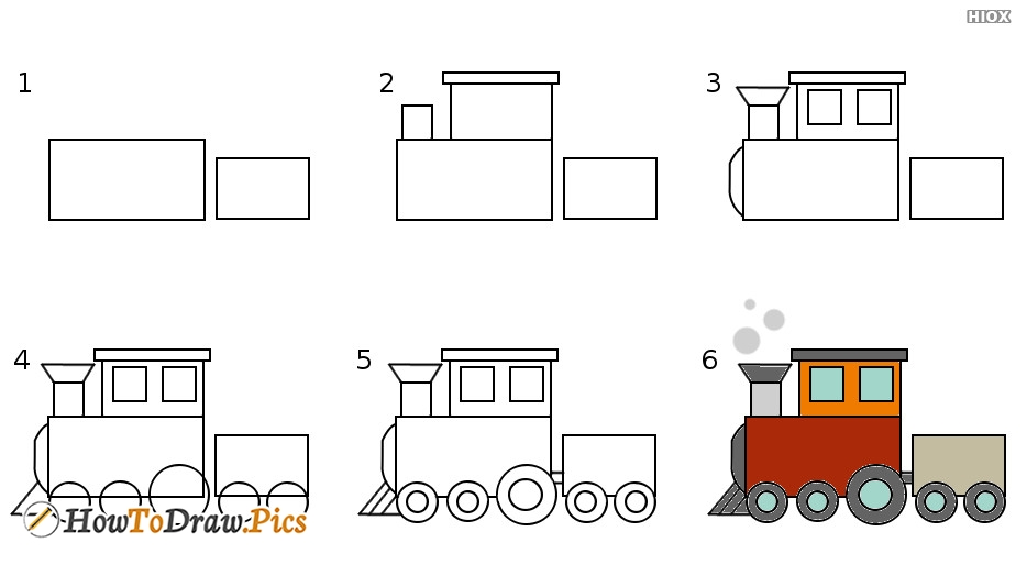how to draw train for kid