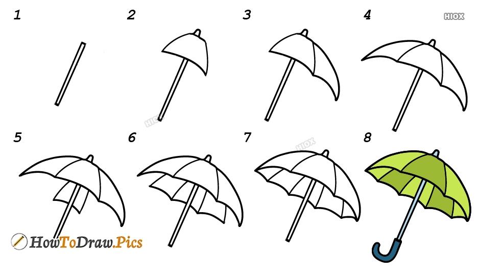 How To Draw Umbrella Easy