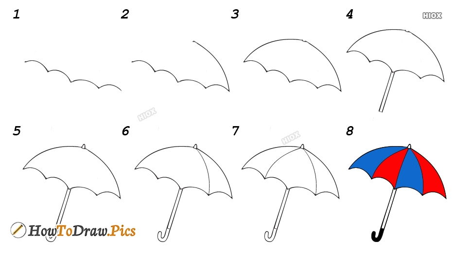 How To Draw Umbrella For Kids