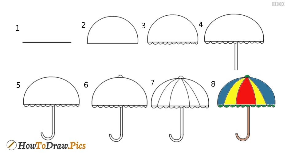How to draw umbrella step by step easy