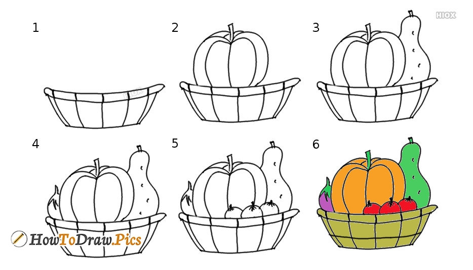 How To Draw Vegetables Step By Step