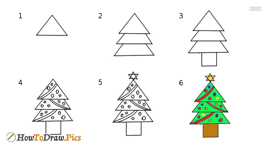 How To Draw Christmas Tree Step By Pictures
