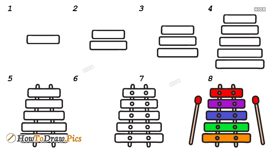 How To Draw Xylophone Step By Step Images