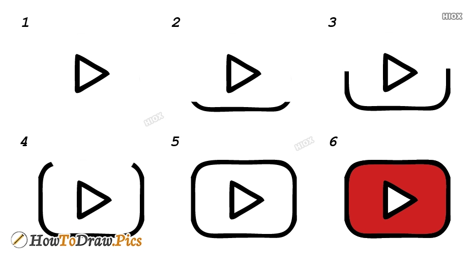 How To Draw Youtube Logo Step By Step Images