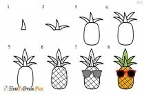 Draw Cute Cartoon Pineapple