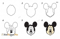 Drawing Steps To Draw Mickey For Kids