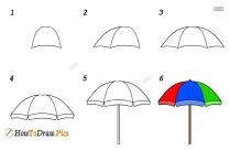 How To Draw A Beach Umbrella