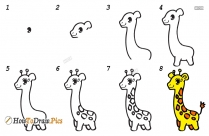How To Draw Giraffe For Kids