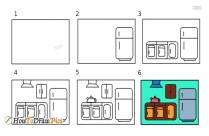 How To Draw A Kitchen