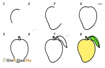 How To Draw A Mango Fruit Step By Step