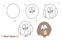 how to draw a owl easily