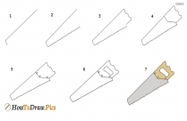 How To Draw A Saw Step By Step?