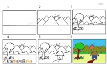 How To Draw A Village Scenery