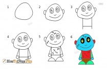 Cartoon Characters Step by Step Drawing